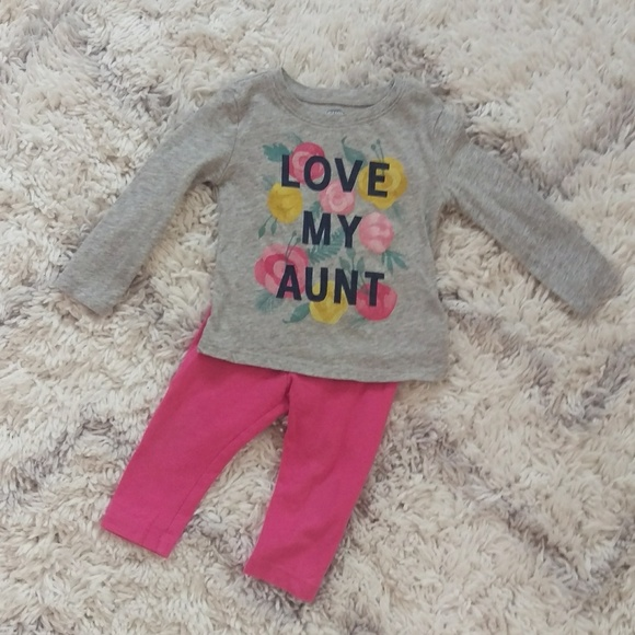 6a0cd3f79b Old Navy Pink Floral Love My Aunt Outfit Sz 12-18.  M 5b4b54cd534ef958699fb0d3